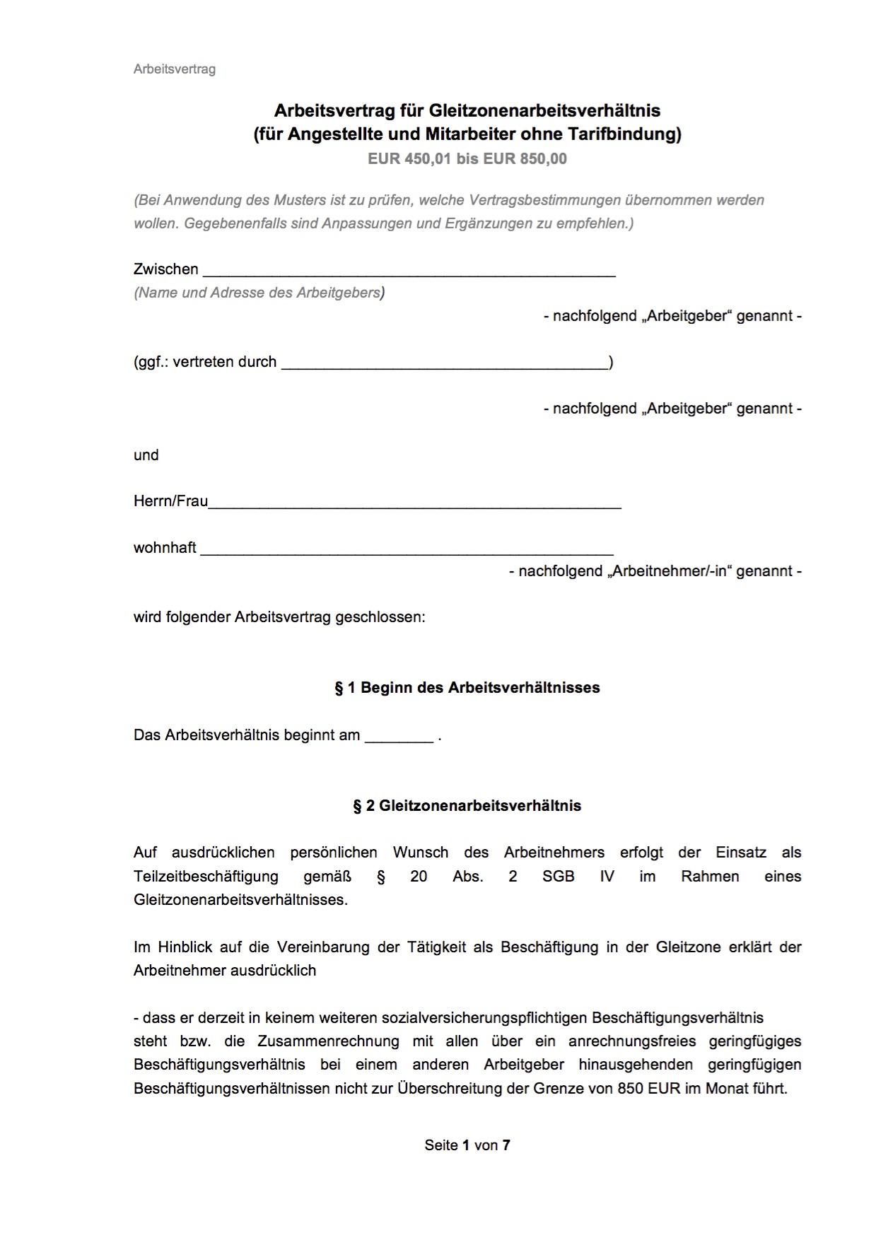 Arbeitsvertrag Gastronomie Vorlage Kostenlos