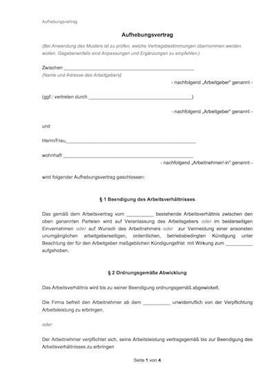aufhebungsvertrag - Aufhebungsvertrag Auf Wunsch Des Arbeitnehmers Muster