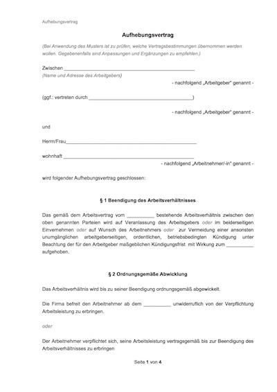 aufhebungsvertrag - Arbeitsvertrag Minijob Muster