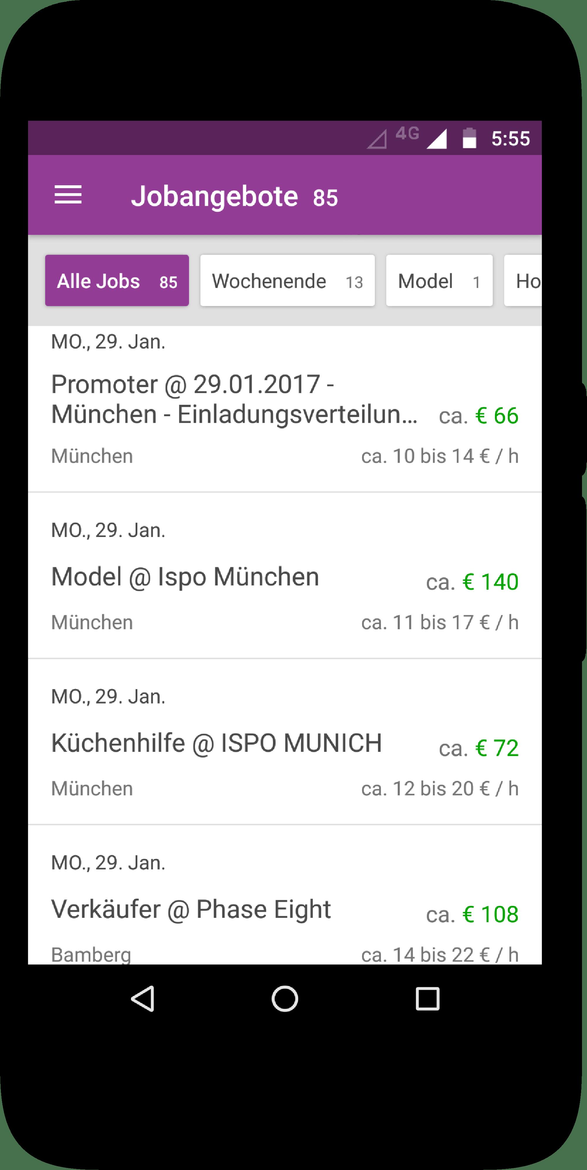 Minijobs App Android Nebenjobs In Ganz Deutschland Instaff